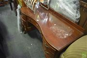 Sale 8326 - Lot 1420 - Serpentine Front Dressing Table w Winged Mirrors Raised on Cabriole Legs