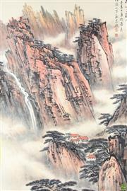 Sale 8586 - Lot 175 - Large Chinese Scroll with Cliff Side Scene