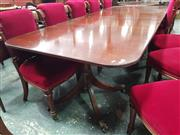 Sale 8868 - Lot 1042 - William Tillman Georgian Style Mahogany Extension Dining Table, with two leaves, D shaped ends & pedestals with three outswept feet