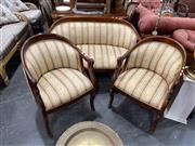 Sale 8896 - Lot 1080 - Timber Framed Settee with Swan Form Arms incl. Pair of Matched Armchairs
