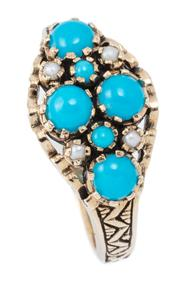 Sale 9029 - Lot 349 - A VICTORIAN STYLE TURQUOISE AND PEARL SET RING; crown claw set with 6 cabochon turquoise and 4 seed pearls to engraved shoulders in...