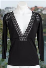 Sale 9044H - Lot 22 - An Emporio Armani black deep V neck top with lace embellishment size US 8