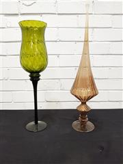 Sale 9076 - Lot 1019 - Large Italian sea green glass Snifter vase, possibly for Empoli and glass centrepiece (h:48cm)