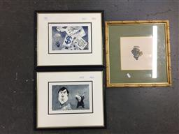 Sale 9118 - Lot 2071 - John Spooner (two works) Matador & Parachute watercolour, frame: 34 x 41 cm each, together with an engraving of grapes -