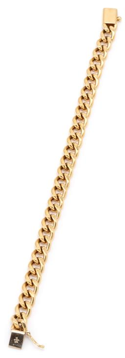 Sale 9149 - Lot 525 - AN 18CT GOLD BRACELET; 7mm wide curb links to box clasp with safety clip, length 18cm, wt. 12.85g.