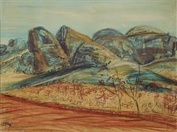 Sale 9244A - Lot 5046 - AFTER LLOYD REES The Olgas, Afternoon Aspect, 1976 oil and crayon on masonite 28.5 x 38.5 cm (frame: 39 x 49 x 3 cm) bears signature...