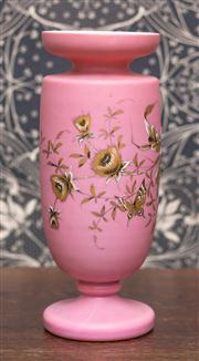 Sale 8222 - Lot 98 - A pink glass Victorian vase with flower and butterfly motif, H 28cm Film Provenance; Australia, 2008