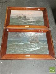 Sale 8548 - Lot 2067 - Pair of Timber Framed Ship Prints