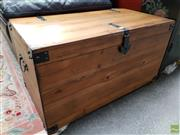 Sale 8580 - Lot 1073 - Timber Blanket Box with Metal Accents