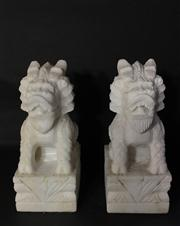 Sale 8706A - Lot 52 - A pair of carved marble temple guardian dragon / foo dog statues, general wear, H 30 x W 16cm