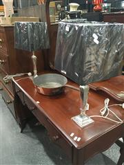 Sale 8740 - Lot 1469 - Pair of Silver Plated Table Lamps (5544)