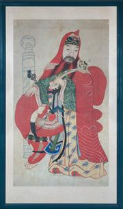 Sale 8815A - Lot 4 - A Chinese ancestor painting seated in flowing colourful robes, total frame size 155cm x 93cm