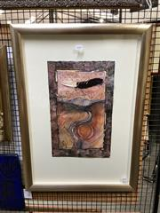 Sale 8888 - Lot 2045 - Pamela Fairburn - Bird Totem, watercolour and collage on paper, 74.5 x 53.5cm (frame) signed