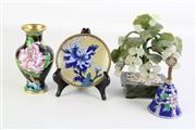 Sale 8902 - Lot 98 - Cloisonne Group Of Items Including Bell Together With A Stone Tree