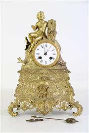 Sale 8913 - Lot 69 - Brass Mantle Clock, with key and pendulum (restoration needed) H44cm