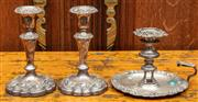 Sale 8942H - Lot 36 - Two silver on copper short form rococo style candlesticks together with a chamber stick