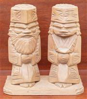 Sale 9055H - Lot 65 - A pair of carved timber Japanese figures circa 1970 on associated base. Total height: 40cm.