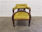 Sale 9085 - Lot 1039 - Late Victorian Carved Walnut Tub Chair, with pierced splat, green-gold velvet upholstery & turned legs (H:70 x W:57 x D:57cm)