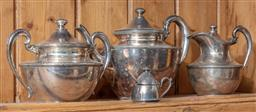 Sale 9120H - Lot 153 - A silverplated three piece tea set comprising of teapot, sugar bowl, creamer, together with a condiment pot, teapot Height 15cm