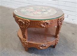Sale 9134 - Lot 1543 - Vintage Italian side table with flower decal to top (h:43 x d:53cm)
