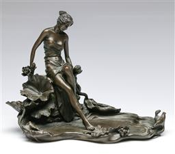 Sale 9138 - Lot 165 - After Moreau Bronze Figure of a Lady Seated by Pond (Height 19cmWidth 26cm Depth 18cm)