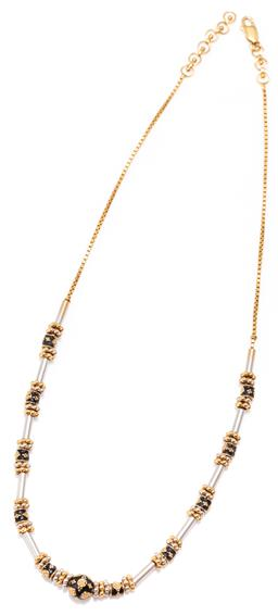 Sale 9177 - Lot 366 - A 22CT TWO TONE GOLD NECKLACE; 22ct box chain attached with sliding white gold tubes flanked by 18ct  yellow and white gold beaded a...