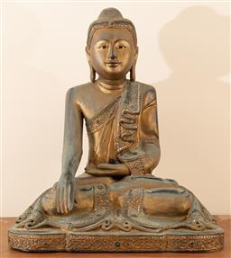 Sale 9164H - Lot 18 - A Burmese Mandalay style carved, gesso and gilt seated earth witness buddha with glass inlay, surface damage to the plaster under th...