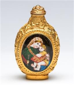 Sale 9175 - Lot 86 - Gilt European Subject Snuff Bottle, Decorated With Two Panels of Women (H: 8cm)