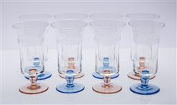 Sale 9185 - Lot 90 - Set of eight etched glasses in pink and blue (H:15cm)