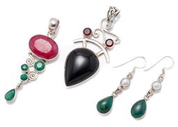 Sale 9209J - Lot 324 - TWO SILVER STONE SET PENDANTS AND PAIR EARRINGS; one pendant set with a pear shape cabochon onyx surmounted by 2 round garnets, size...