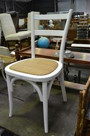 Sale 8115 - Lot 1040 - Set Of Four White Ladder Back Dining Chairs