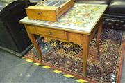 Sale 8165 - Lot 1016 - Single Drawer Side Table with Tapestry & Glass Top