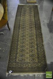 Sale 8305 - Lot 1088 - Runner with Rows of Medallions on Brown Field (78 x 240cm)