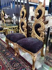 Sale 8566 - Lot 1755 - Three Gilt High Back Upholstered Chairs