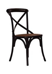 Sale 8697A - Lot 89 - A set of 8 timber cross back chairs in aged black, each H 90 x W 47 x D 46cm