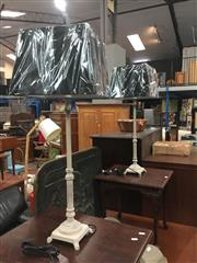 Sale 8740 - Lot 1474 - Pair of Tall French Provincial Metal Table Lamps (5616)
