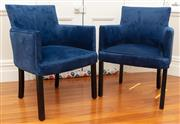 Sale 8863H - Lot 47 - A pair of navy velvet carver chairs with dark timber legs, Height 85cm, Width 59cm, Depth 63cm