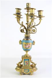 Sale 8935 - Lot 9 - A Brass Sevres Style Six-Branch Candelabrum H: 52cm