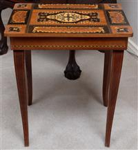 Sale 8963H - Lot 23 - A small Italian marquetry musical occasional table with hinged top, Height 42cm x Length 37cm x Depth 27cm