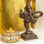 Sale 8976H - Lot 40 - An Indian cast bronze figure of Ganesh together with an Indian painted bone covered box, tallest 15cm