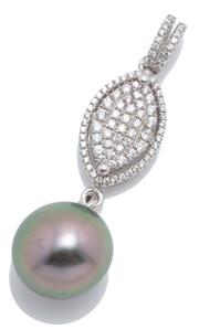 Sale 9046 - Lot 578 - A TAHITIAN PEARL AND STONE SET PENDANT; 11.8mm round fine cultured pearl on a silver cluster surmount and bale set with zirconias, l...