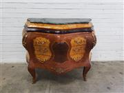 Sale 9080 - Lot 1011 - French inlaid marble top commode with three drawers & ormalu mounts (h:101 x w:126 x d:53cm)