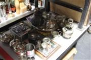 Sale 8139 - Lot 2306 - Collection of Silver Plated Wares inc Serving Tray, Chinese Copper Teapot, and others
