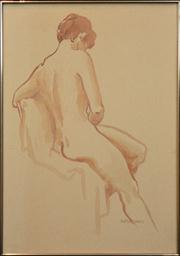 Sale 8259 - Lot 656 - Artist Unknown (XX) - Seated Nude 69 x 49cm