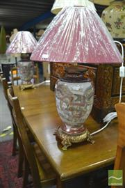 Sale 8289 - Lot 1090 - Pair of Satsuma Elephant Table Lamps (4140)