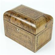 Sale 8412A - Lot 54 - Inlayed Wooden Tea Caddy width - 21cm