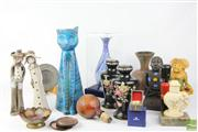 Sale 8486 - Lot 54 - Bitossi Cat (chip), Enamelled Vase, Tribal Items & Others