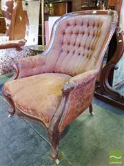 Sale 8539 - Lot 1084 - Victorian Carved Walnut Gentlemans Armchair, with red buttoned floral upholstery & cabriole legs