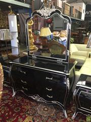 Sale 8566 - Lot 1385 - High Gloss Black Bombay Style Chest with Mirrored Back (130 x 49 x 85)