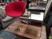 Sale 8637 - Lot 1058 - Modern Barstool & Red Upholstered Tub Chair (2)